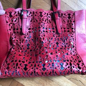 Christian Lacroix Bags - Laser-cutout red tote bag